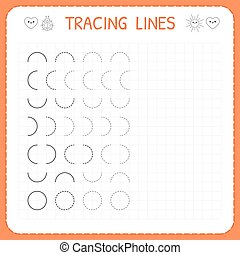 Tracing lines. Worksheet for kids. Basic writing. Working ...