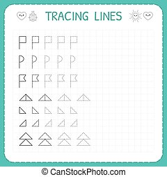 Tracing lines. Worksheet for kids. Trace the pattern. Basic ...