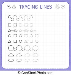 Tracing lines. Worksheet for kids. Working pages for ...