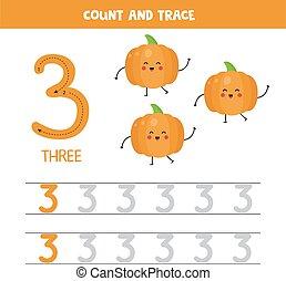 Tracing numbers worksheet. Number three with cute kawaii pumpkins.