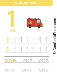 Tracing numbers worksheet with cartoon fire truck.