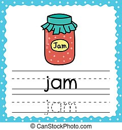 Tracing words flashcard - Jam. Writing practice for kids. Flash card with simple three letter word