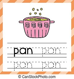 Tracing worksheet with the word - Pan. Phonic learning material or flashcard