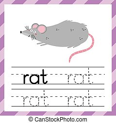 Tracing worksheet with word Rat. Learning material for kids