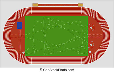 Track and field - A typical track and field ground showing ...