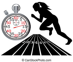 athletics track stopwatch on a white background