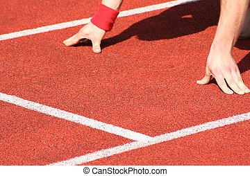 Track and field athletics - Typical scene on a sport field ...