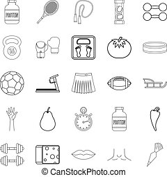 Track and field icons set, outline style