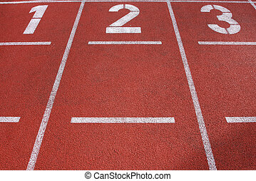 track and field lanes - Lanes 1, 2 and 3 on a running track...
