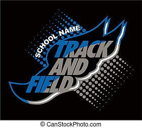 track and field team design with winged foot for school, college or league