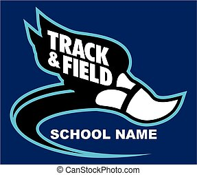 track and field team design with winged foot for school,...