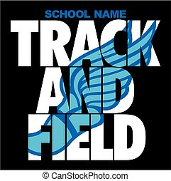 track and field team design with winged foot for school, ...