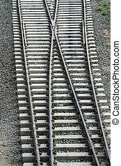 Track Cross-over - Cross-over of railway tracks laid on...