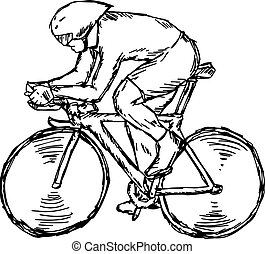 Track cycling competition - vector illustration sketch hand drawn with black lines, isolated on white background
