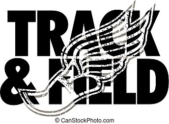 track & field design with distressed track foot