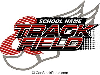 track & field team design with track foot for school, ...