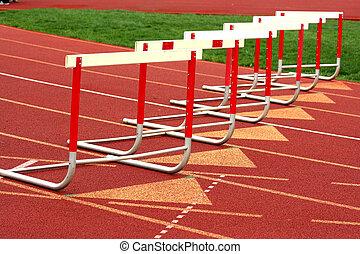 A track competiton hurdles