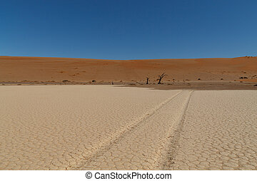 Track in the salt - Road tracks at Hidden Vlei, Sossusvlei...