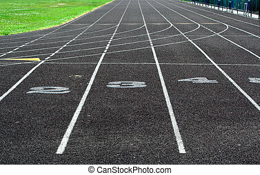 Track - A portion of a track showing lane numbers 2, 3, and...