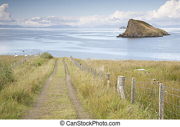Track to Tulm Bay, Isle of Skye looking to Outer Hebrides, Scotland, UK