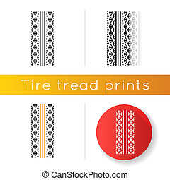 Track tread icon. Detailed automobile, motorcycle street tyre marks. Symmetric car wheel print. Vehicle tire trail. Linear black and RGB color styles. Isolated vector illustrations
