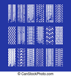 Track tread RGB white icons set. Detailed automobile, motorcycle tyre marks. Car summer and winter wheel trace. Vehicle tire trail in grunge style. Isolated vector illustrations on blue background
