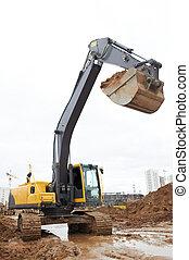 track-type, 工作, 挖掘機, loader
