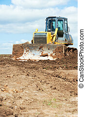 track-type, 推土机, 工作, 挖掘機, loader