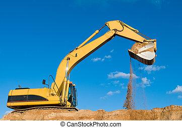 track-type, 砂, 採石場, 掘削機, 積込み機