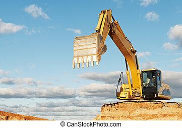 track-type, construction, chargeur, excavateur, secteur