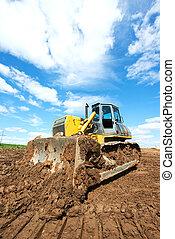 track-type loader bulldozer excavator at work