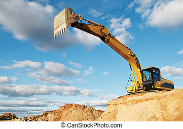 track-type loader excavator at construction area