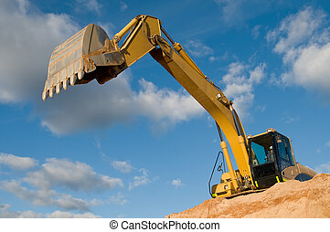 track-type loader excavator at sand quarry - excavator ...