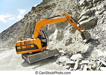 track-type, montagne, travail, excavateur, chargeur