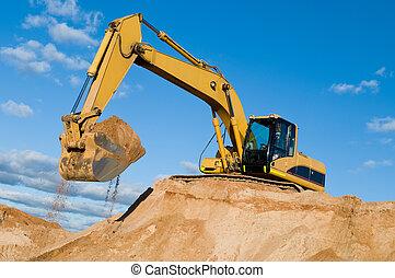track-type, sabbia, cava, scavatore, caricatore