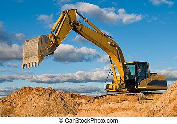 track-type, sable, carrière, excavateur, chargeur
