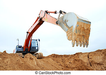 track-type, travail, excavateur, chargeur