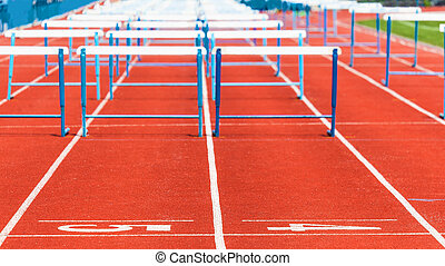 track with obstacles, sports background
