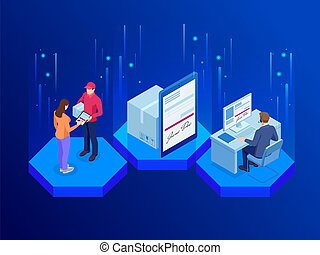 Tracking delivery by parcel, delivery service concept. Woman accepting a delivery of boxes from deliveryman. Isometric vector illustration.