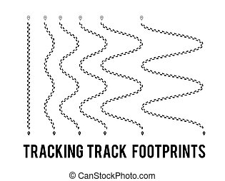 Tracking of human footprints to track walk paths. Silhouette from shoes. Vector illustration