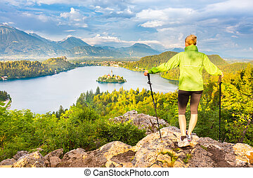 Tracking round Bled Lake in Julian Alps, Slovenia.