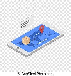 Tracking shipped box icon, isometric style