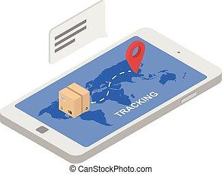 Tracking shipped box icon, isometric style - Tracking...
