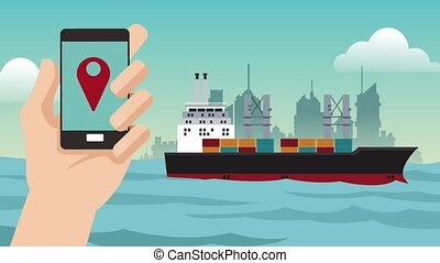 Tracking shipping from smartphone HD animation