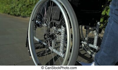 Tracking shot of a wheelchair in the park