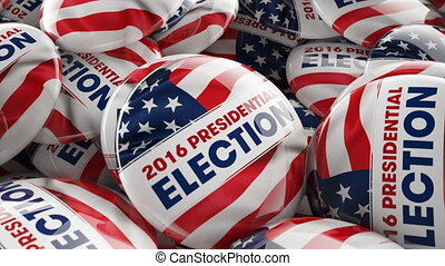 Tracking shot of election buttons - Nice tracking shot of...