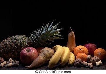 tracking shot of fresh seasonal fruit.