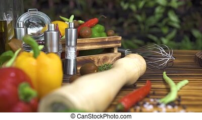 Tracking shot vegetable background on wooden table. Close up...