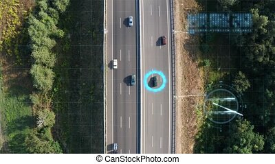 Tracking traffic with artificial intelligence and digital technologies on the expressway - internet of things concept. Traffic on a suburban expressway - aerial drone view.
