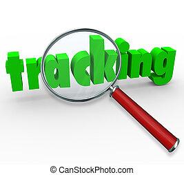 tracking, woord, verpakken, vergrootglas, bevinding, order
